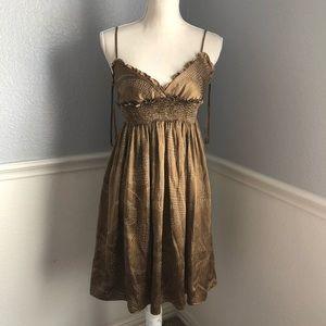 BCBGMaxAzria Dresses - BCBGMAXAZRIA 100% Silk Brown Dress